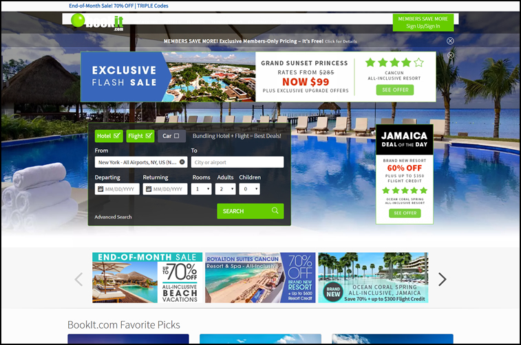 Bookit best travel pricing design example